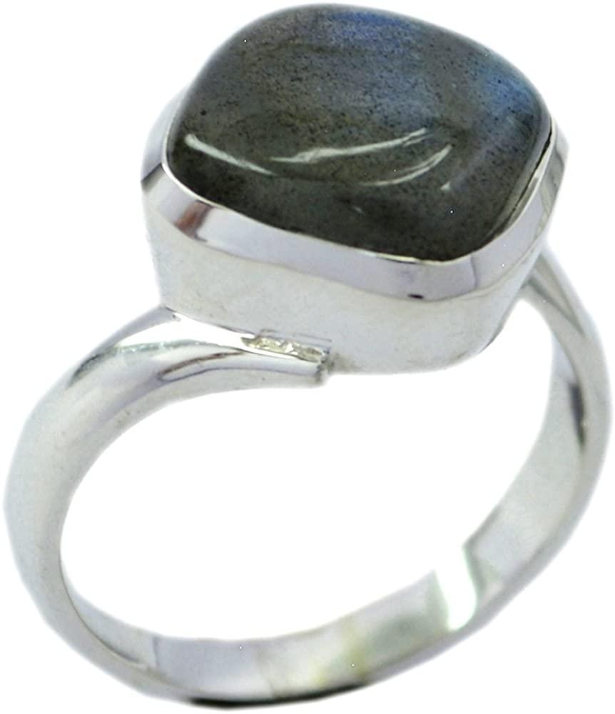 Gemsonclick Genuine Labradorite Ring for Women Square Shape Sterling Silver Astrological Handmade 5,6,7,8,9,10,11,12