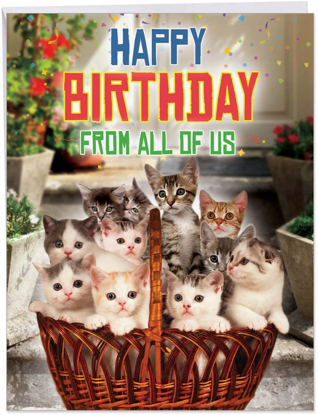 NobleWorks - Jumbo Cat Birthday Greeting Card (8.5 x 11 Inch) - Pet Animal Humor, Big Group Card for Birthdays - From All Us Cats Birthday J5980BDG-US