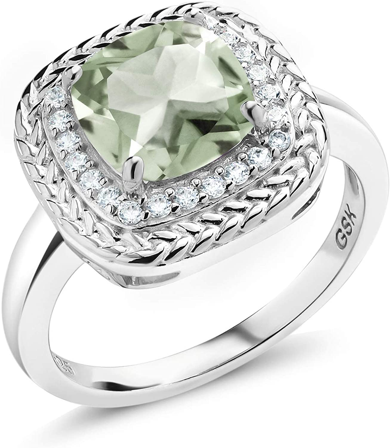 Gem Stone King 925 Sterling Silver Green Prasiolite Women Engagement Ring (2.05 Ct Cushion Cut Gemstone Birthstone, Available in size 5, 6, 7, 8, 9)