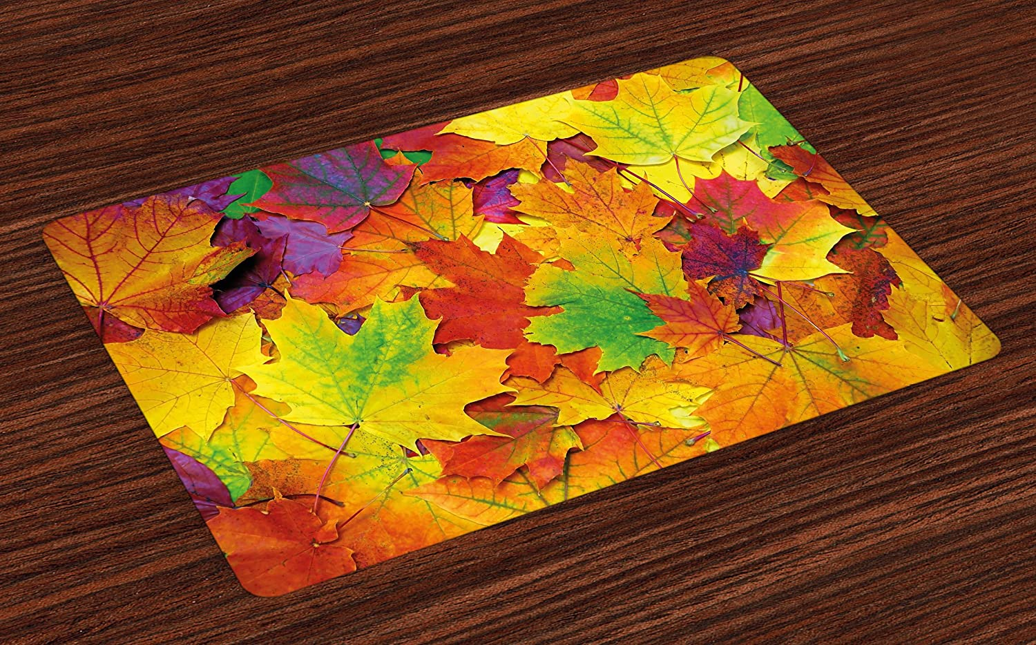 Ambesonne Fall Place Mats Set of 4, Different Colored Vibrant Many Autumn Maple Leaves Nature in November Scenery Photo, Washable Fabric Placemats for Dining Room Kitchen Table Decor, Purple Yellow