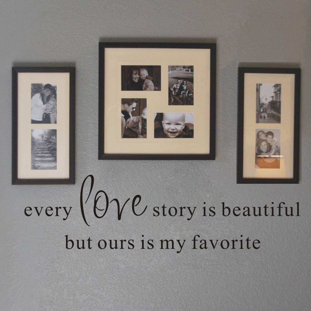 FlyWallD Wall Decal Quotes Vinyl Art Saying Sticker Family Home Picture Decor - Every Love Story is Beautiful But Ours is My Favorite