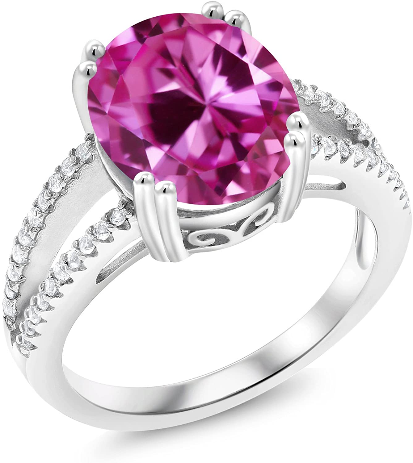 Gem Stone King 925 Sterling Silver Pink Created Sapphire Women Ring (6.48 Ct Oval Available in size 5, 6, 7, 8, 9)