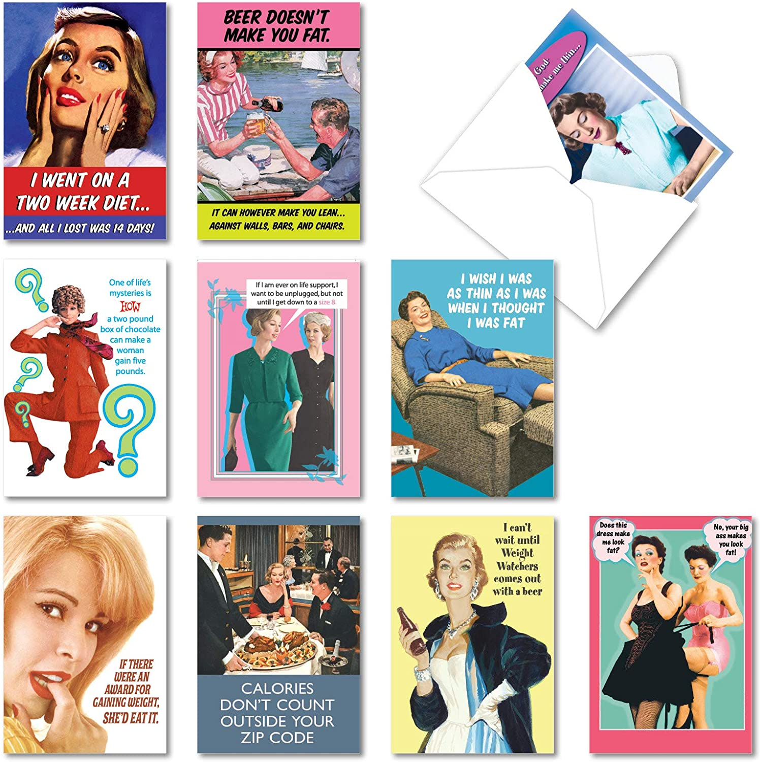 NobleWorks - 10 Funny Birthday Cards Assortment - Adult Retro Notecard Set, Bulk Boxed Humor - Weight is Over A1249