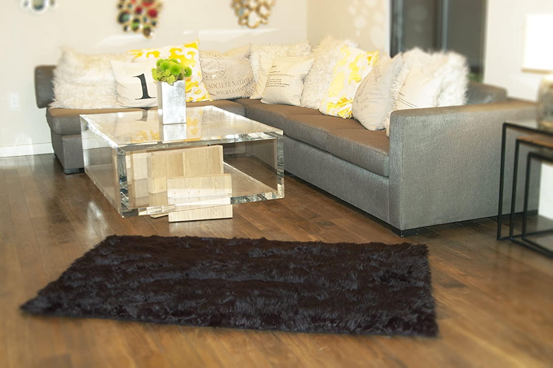 10' X 10' New Premium Black Shag Faux Fur Area Rug Room Decor Home Accents Shaggy Contemporary Modern Shag Carpet Throw Rug