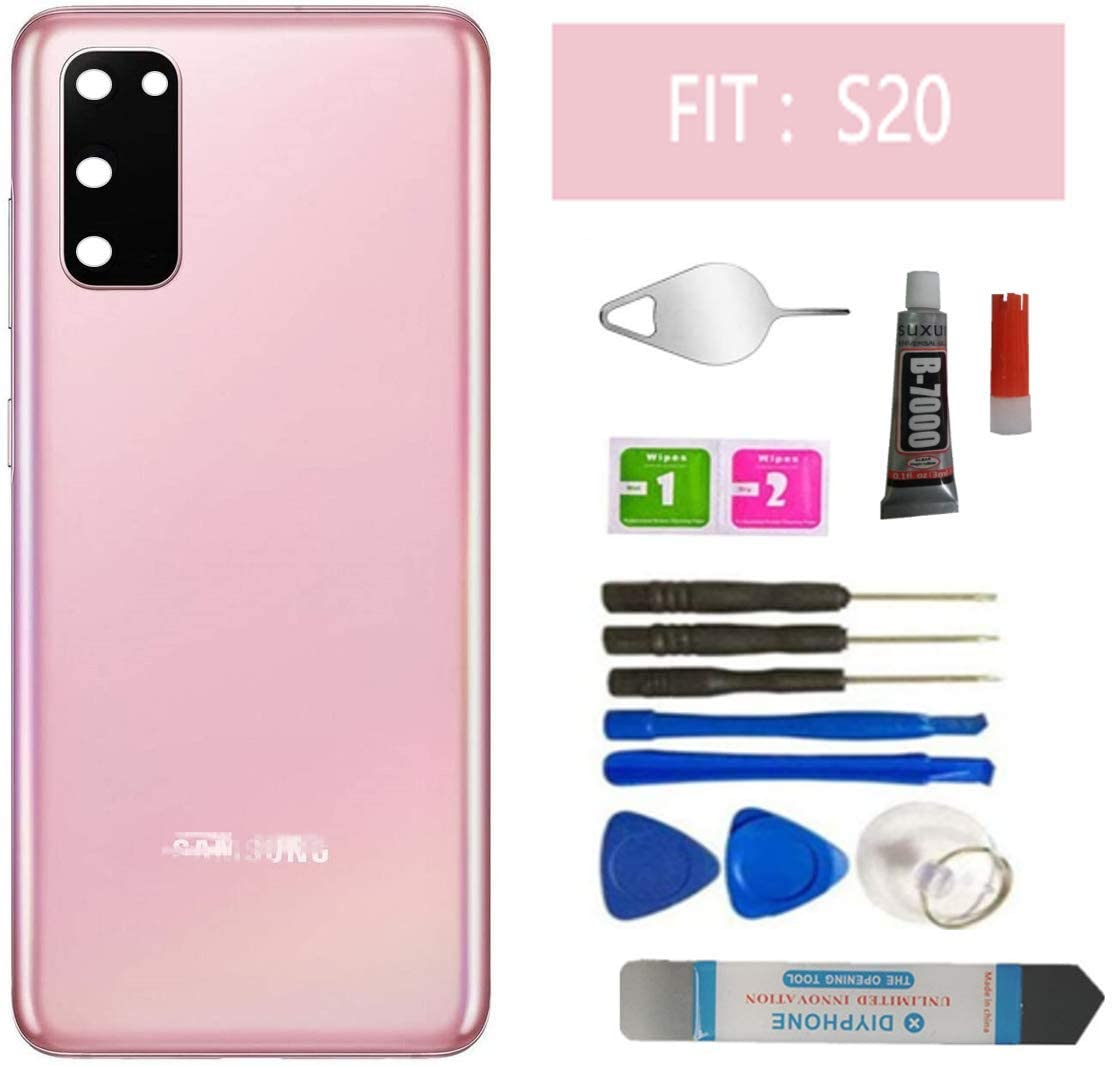 Galaxy S20 Back Glass Replacement Housing Door Parts with Camera Frame Lens,with Pre Installed Tape,with Waterproof for Samsung Galaxy S20 with Tools (Cloud Pink)