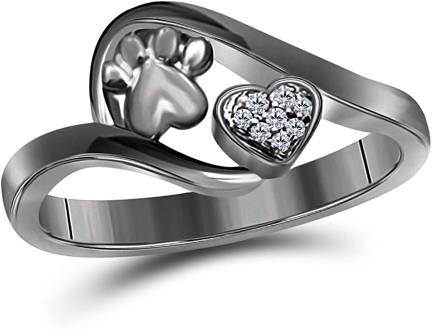 Gems and Jewels Valentine Gift Round Cubic Zirconia 14k Black Gold Plated Alloy Accent Paw Dog Print with Lovely Heart Ring for Women