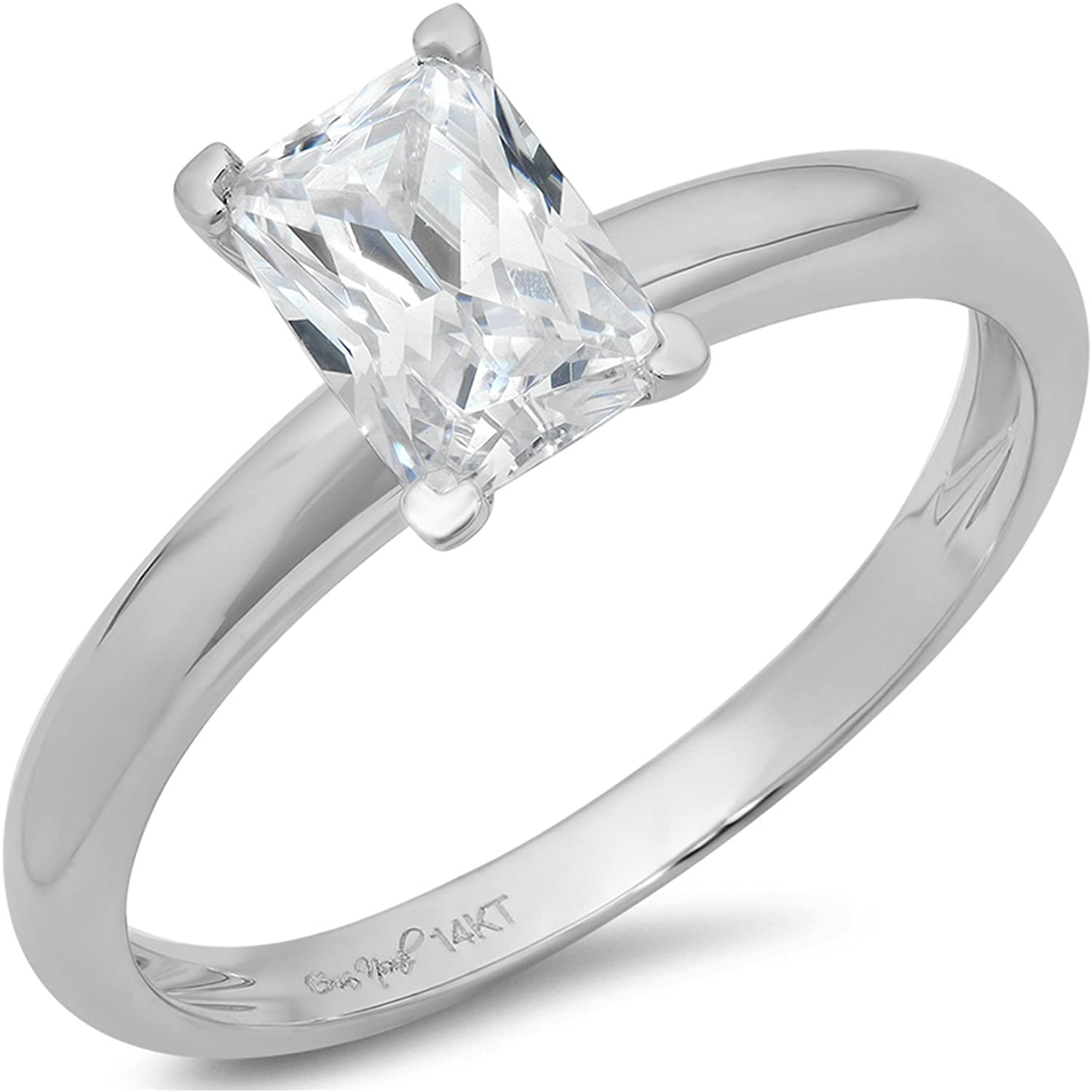 Clara Pucci 1.2 Ct Emerald Brilliant Cut Solitaire Engagement Promise Wedding Bridal Anniversary Ring 14K White Gold