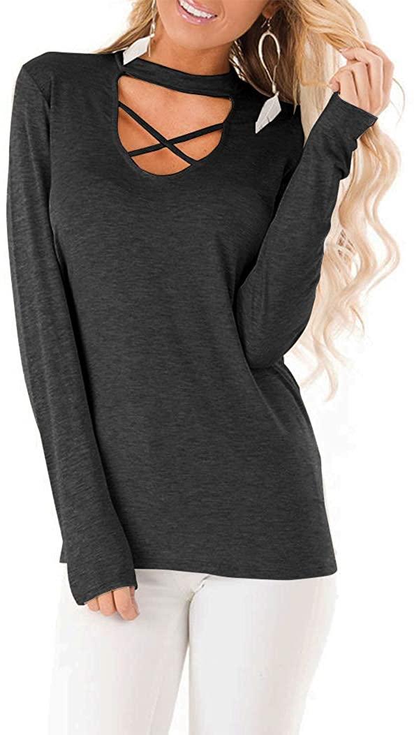 Floral Find Women's Long Sleeve Criss Cross Choker Tunic Tops Casual V Neck T Shirt Blouse Tops