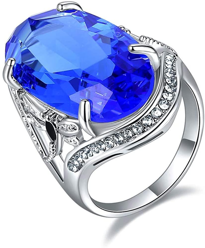 Ajojewel Big Crystal Blue Sapphire Ring Women Single Stone Cubic Zirconia Wedding Ring Statement Jewelry
