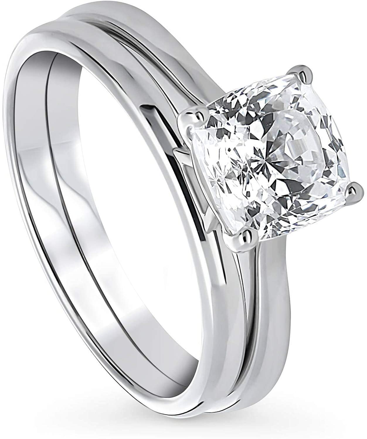 BERRICLE Rhodium Plated Sterling Silver Solitaire Engagement Wedding Ring Set Made with Swarovski Zirconia Cushion Cut 2 CTW