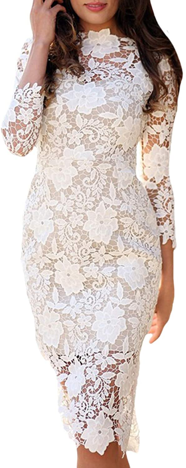 CORAFRITZ Women's 3/4 Sleeve Embroidered Evening 2 Layer Flower Elegant White Lace Dress Cocktail Party Dress