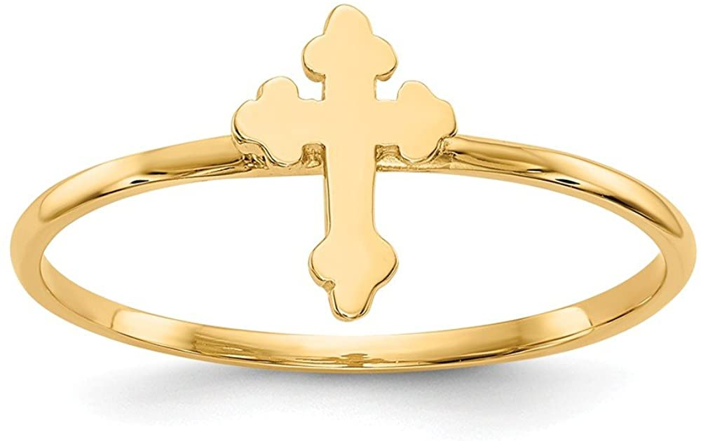 14k Yellow Gold Cross Religious Band Ring Size 7.00 Fine Jewelry For Women Gifts For Her