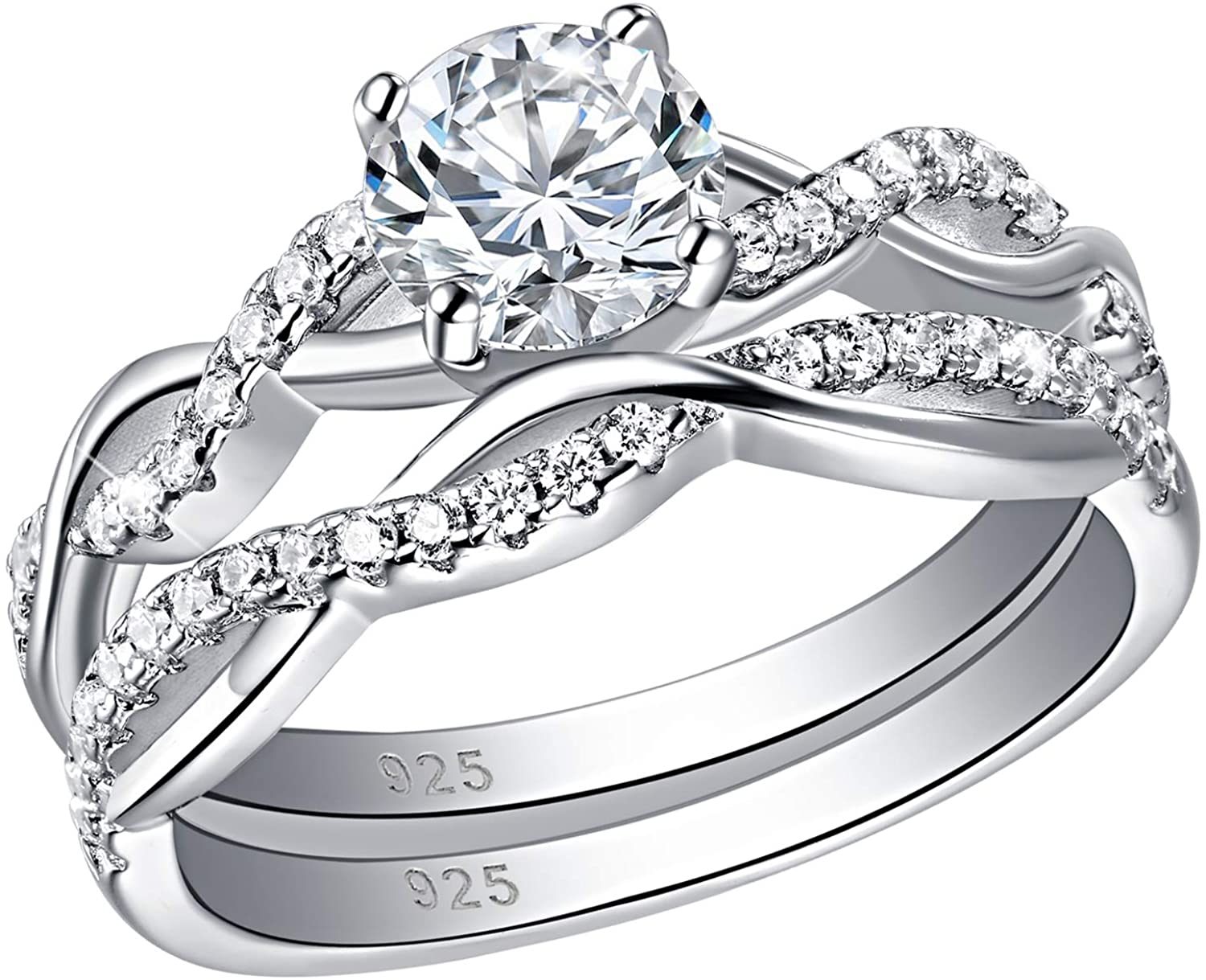 SHELOVES Infinity Engagement Wedding Ring Set White Round Cz for Women 925 Sterling Silver Size 5-12
