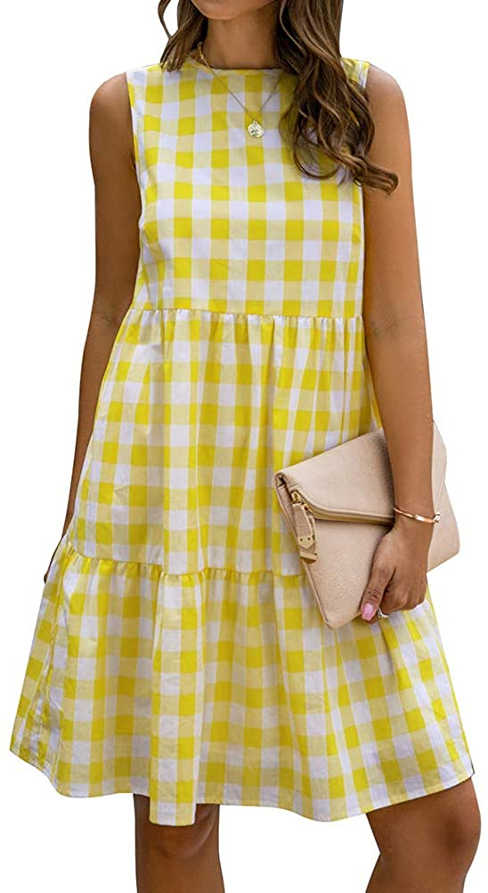 Women's Casual Plaid Sleeveless Ruffle Sundress Round Neck A-Line Pleated Mini Short T Shirt Dress with Pockets