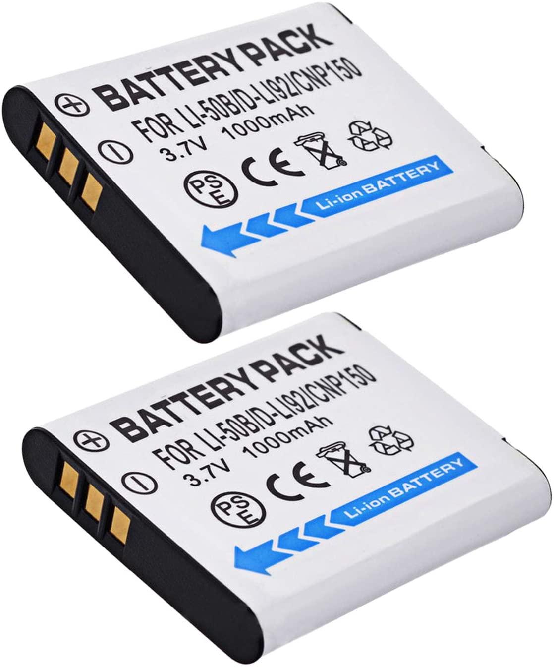 Battery 2 Pack for Ricoh WG-4 GPS, WG-5 GPS Digital Camera