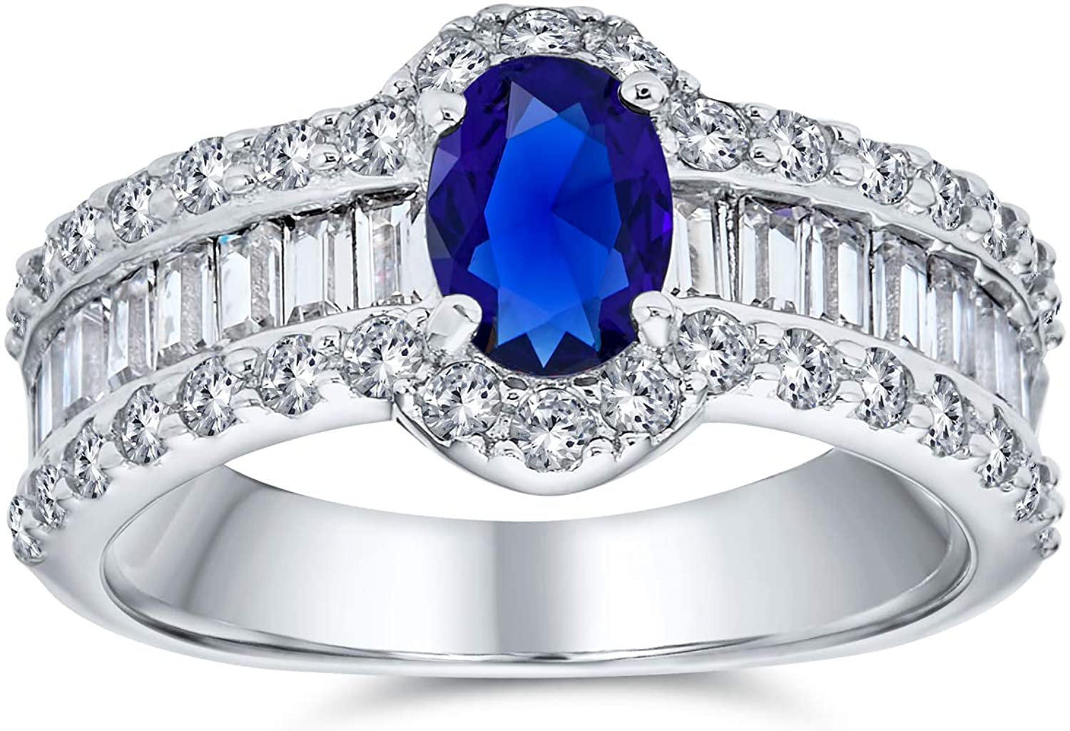 Art Deco Style Oval Solitaire Halo Blue Simulated Sapphire Engagement Ring For Women 925 Sterling Silver