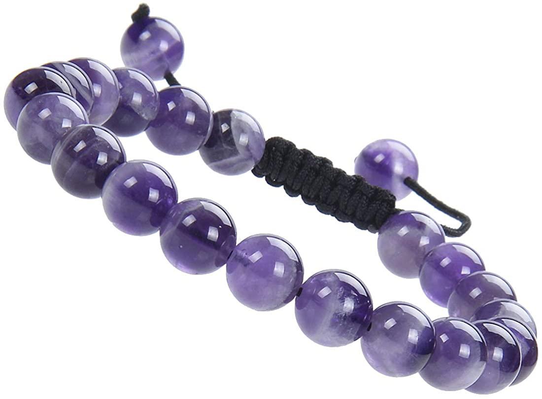 Massive Beads Natural Healing Power Gemstone Crystal Beads Unisex Adjustable Macrame Bracelets 8mm