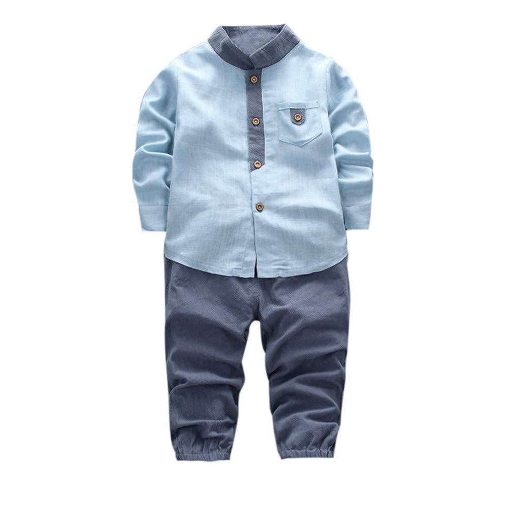 2pcs Toddler Baby Boys Kids Shirt Tops+Long Pants Clothes Gentleman Outfits Set