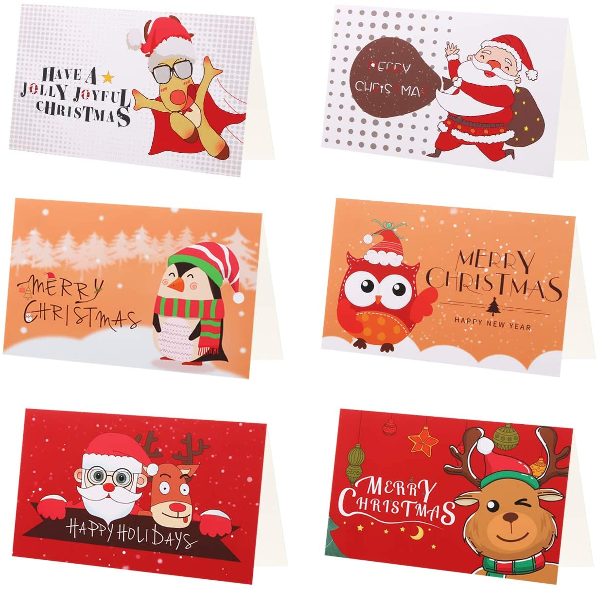 KESOTE 24 Pack Merry Christmas Cards with Envelopes and Sealing Stickers - 6 Assorted Cute Design Holiday Cards, Blank Xmas New Year Greeting Cards Bulk