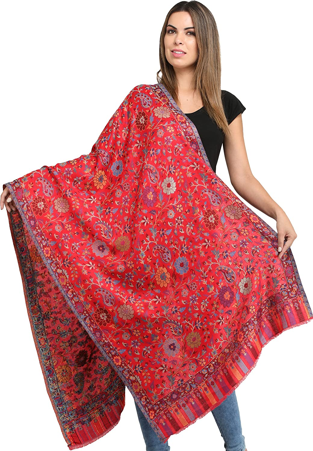 Exotic India Kani Jamawar Stole with Woven Flowers and Paiselys in Multi-Color Thread