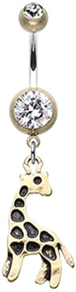 Pierced Owl Clear CZ Crystal Vintage Boho Giraffe Dangle Belly Button Navel Ring
