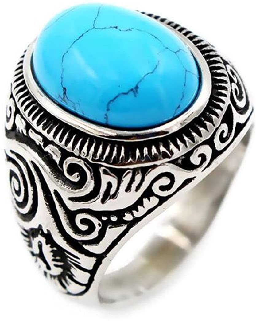LAFATINA Men's Blue Brown Stone Turquoise Onyx Ring, Stainless Steel Retro Celtic Wedding Engagement Class Statement Band Ring, Size 7-13
