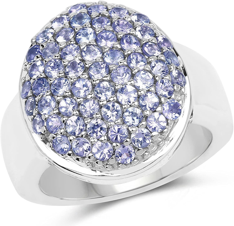2.00 Carat Genuine Tanzanite .925 Sterling Silver Ring