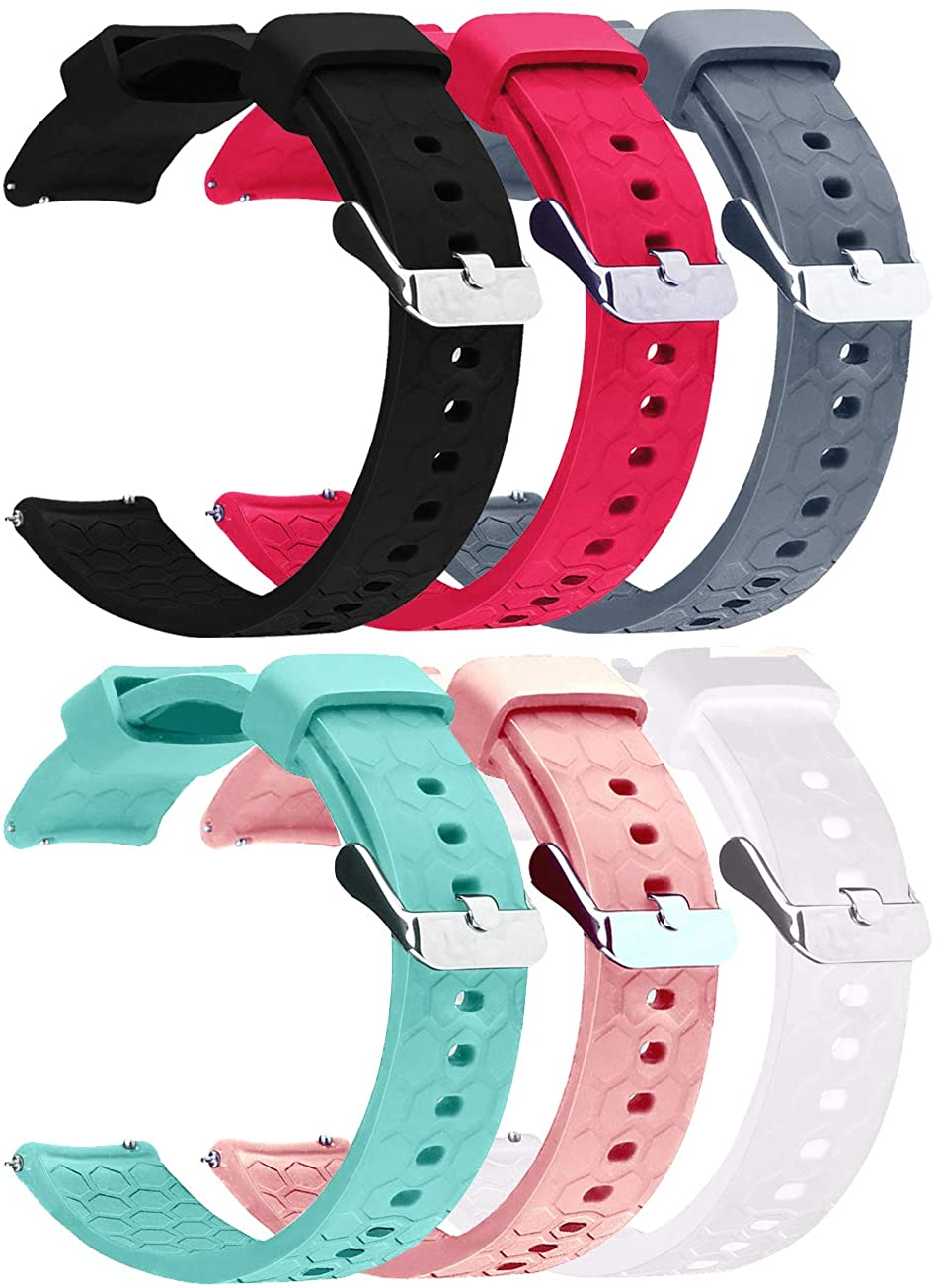 Silicone Bands Compatible with Samsung Galaxy Watch 3 41mm, for Galaxy Watch Active 2 / Active /42mm / Gear Sport / Gear S2 Classic Watch Band 20mm (6-Pack)