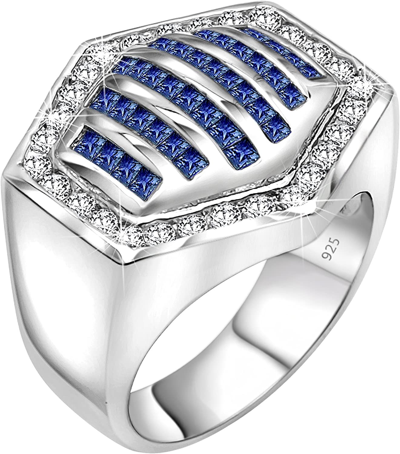 Sterling Manufacturers [2-5 Days Delivery] Men's Sterling Silver .925 Hexagonal Ring Featuring 64 White and Azure Blue Round and Baguette Cubic Zirconia (CZ) Stones, Platinum Plated Iced Flashy