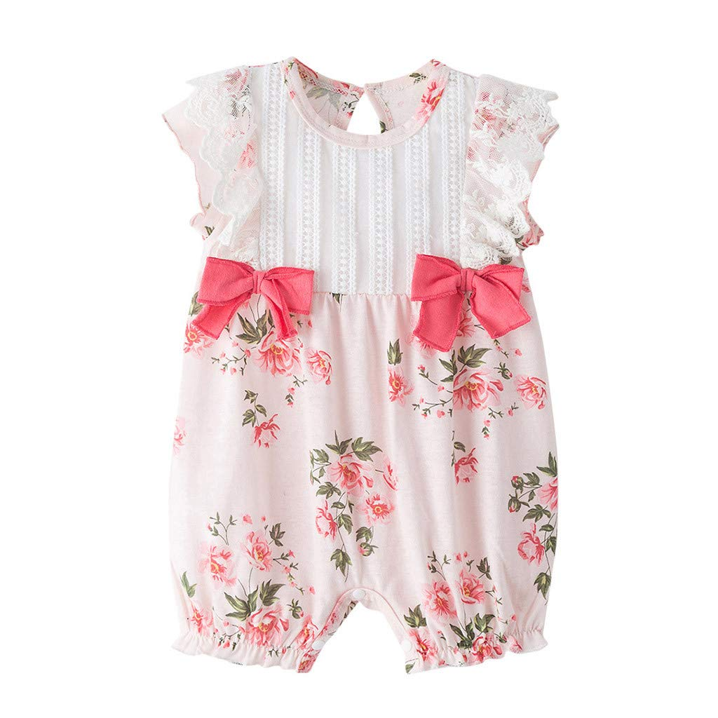Baby Girl Romper 12-18Months,Newborn Infant Girls Ruched Ruffles Bow Floral Romper Jumpsuit Sunsuit,Preemie Girls Clothes