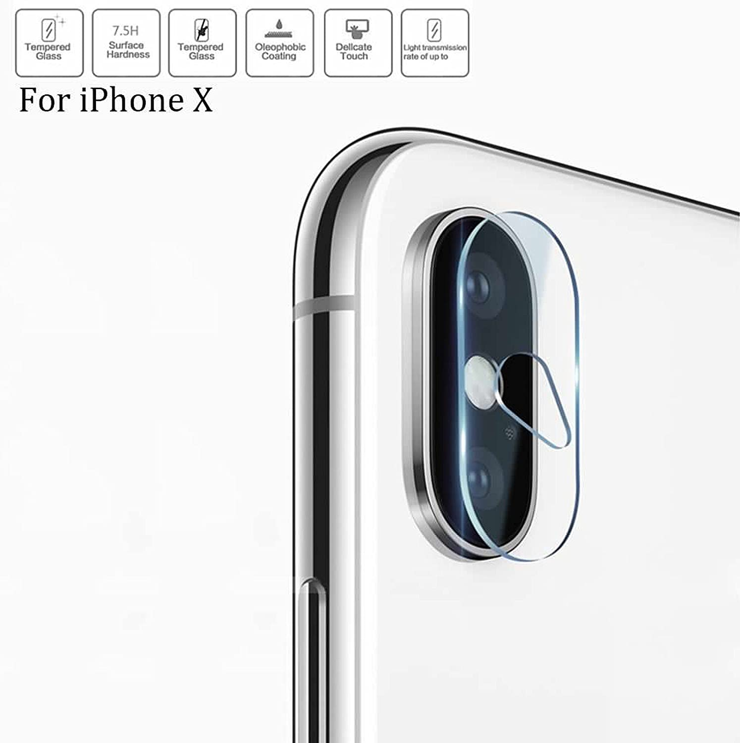 Superior ZRL 7.5H 2.5D Rear Tempered Glass Camera Lens Protector Film Guard for iPhone X