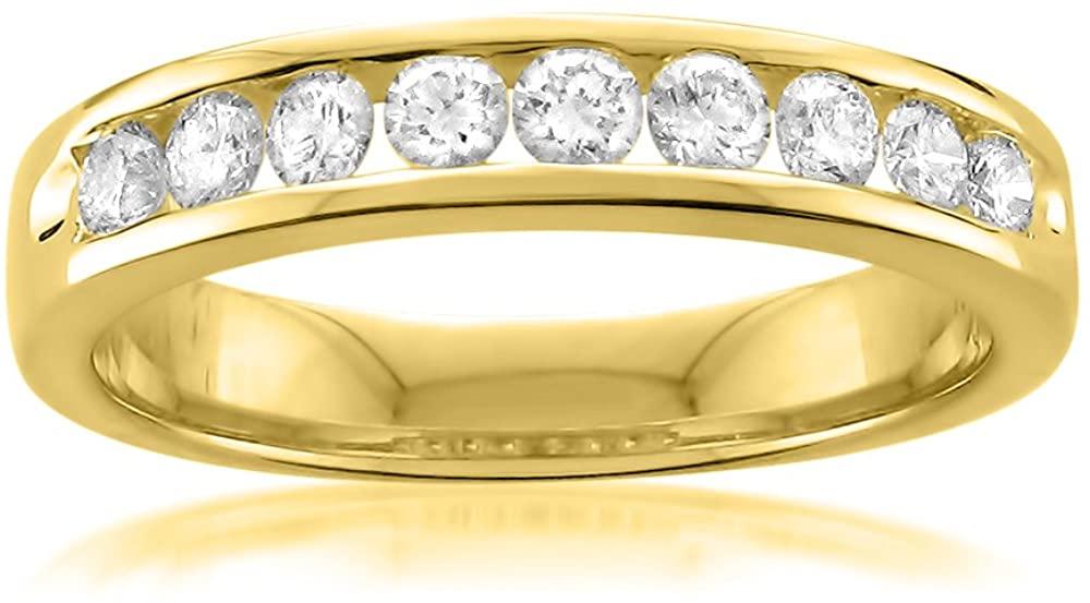 14k Yellow Gold 9-Stone Round Diamond Bridal Wedding Band Ring (1/2 cttw, I-J, I1-I2)