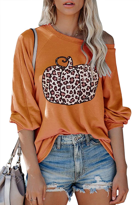 Laseily Women's Graphic Print Sweatshirts Off Shoulder Pumpkin Long Sleeve Crew Neck Loose Halloween Shirts