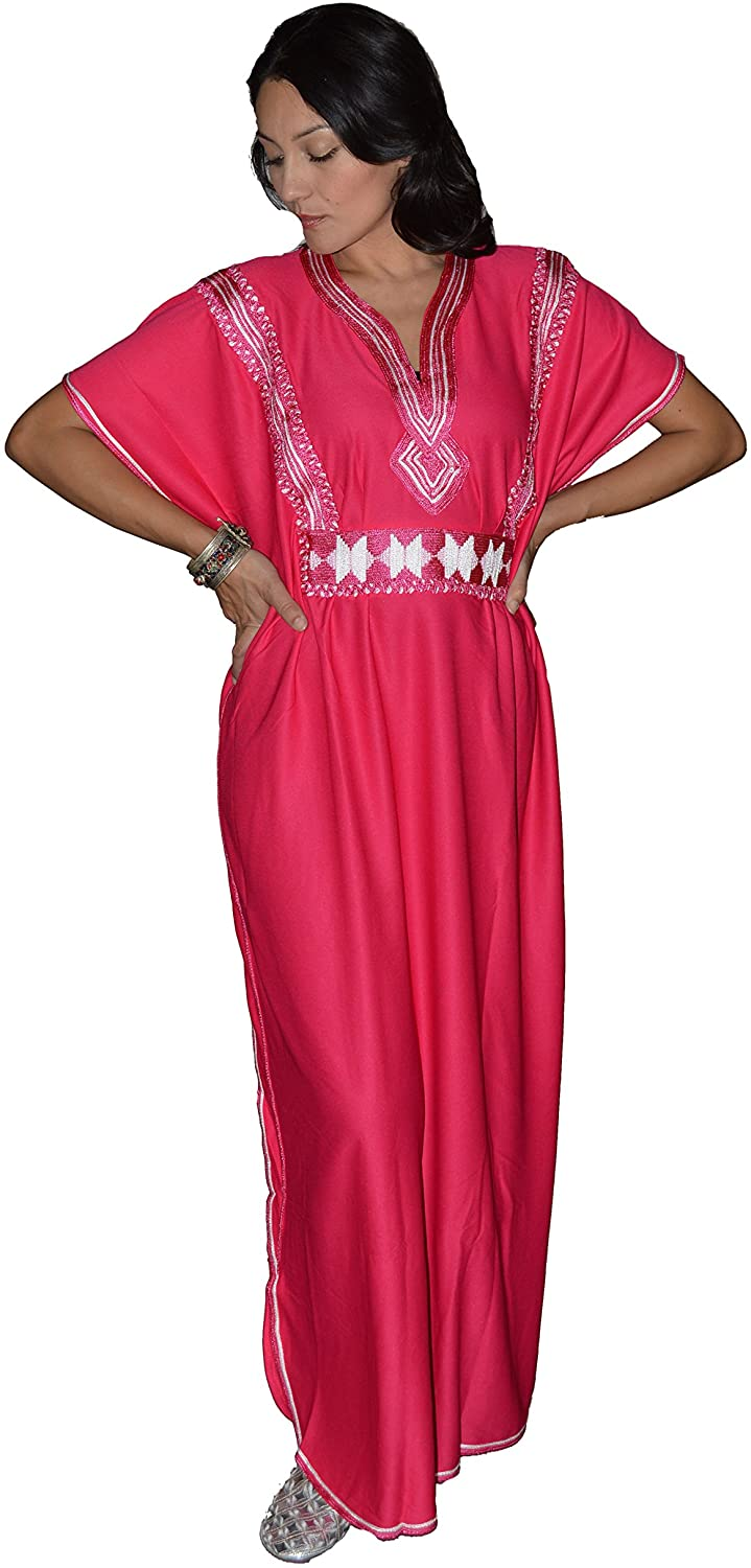Moroccan Caftans Women Breathable Handmade Butterfly Style Embroidery Ethnic Design Magenta