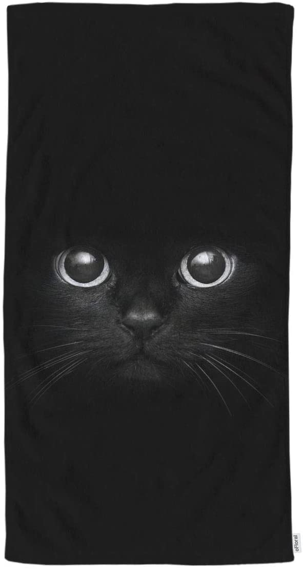 oFloral Black Cat Hand Towels Cotton Washcloths,Cool Cat Head On Black Comfortable Soft Towels for Bathroom/Kitchen/Yoga/Golf/Hair/Face Towel for Men/Women/Girl/Boys 15X30 Inch