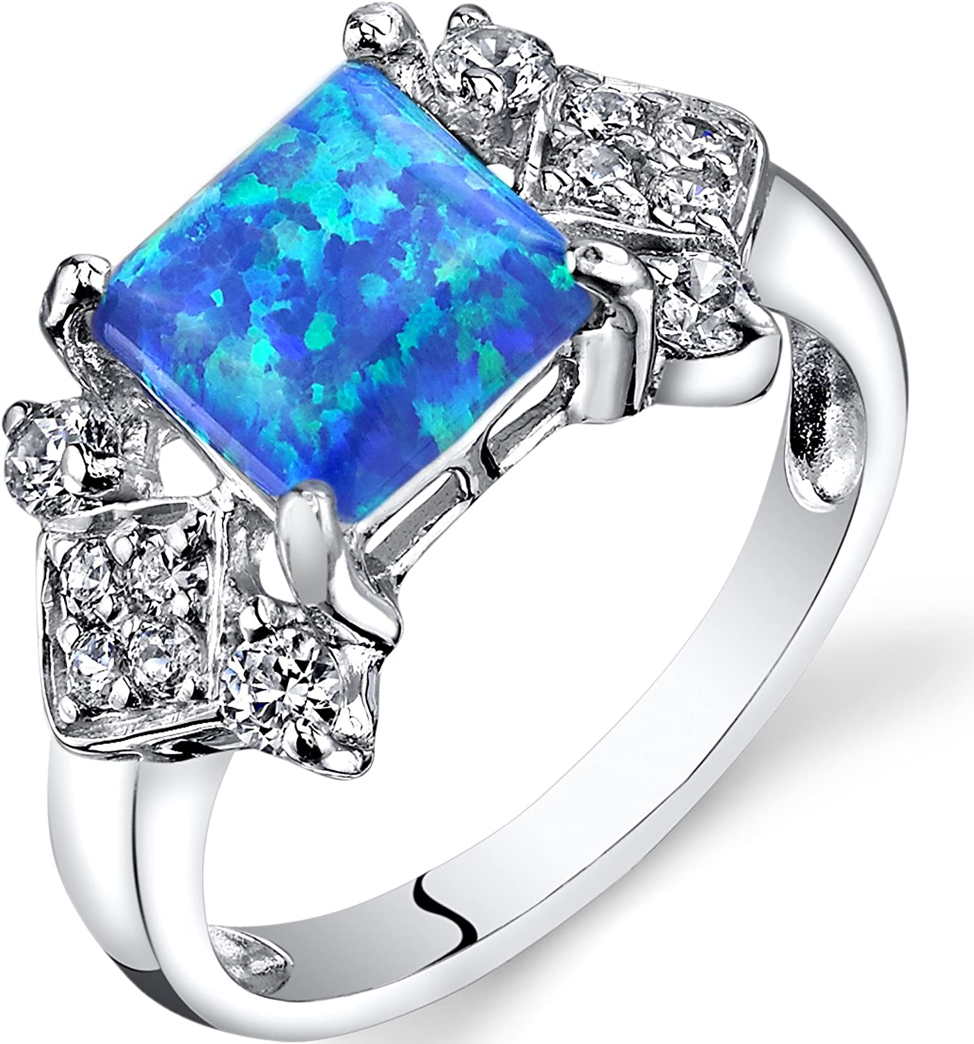 Created Blue Opal Majeste Ring Sterling Silver Princess Cut 1.00 Carats Sizes 5 to 9