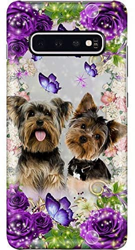 Cute Yorkie with Purple Rose Phone Case for Samsung Galaxy S9 Plus - Anti-Scratch Tempered Glass Back Cover TPU Frame Fashion Slim Case Anti-Drop for iPhone Samsung