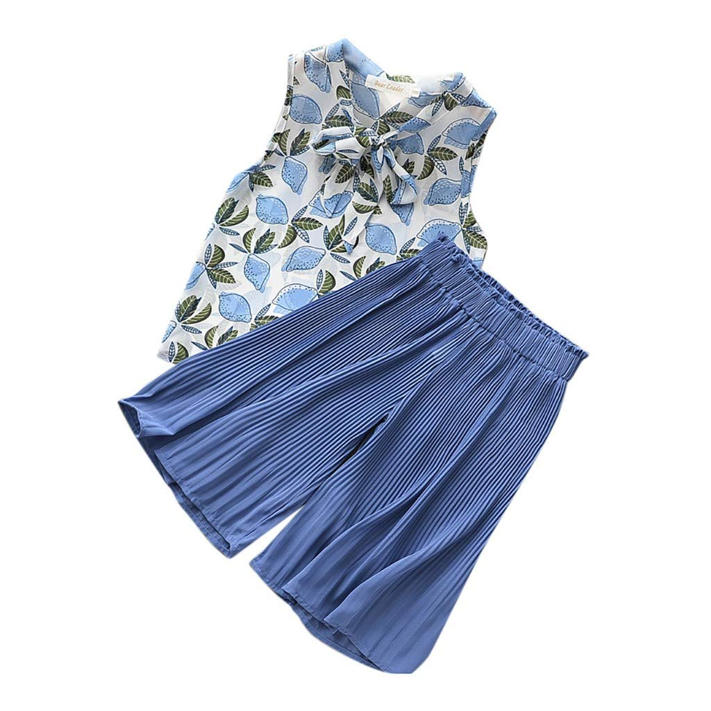 Baby Top & Pants Set, Children Baby Girls Printing Chiffon Bow Sleeveless Tops+Wide Leg Pants Suit, Baby Clothes Onsale Blue 4-5 T