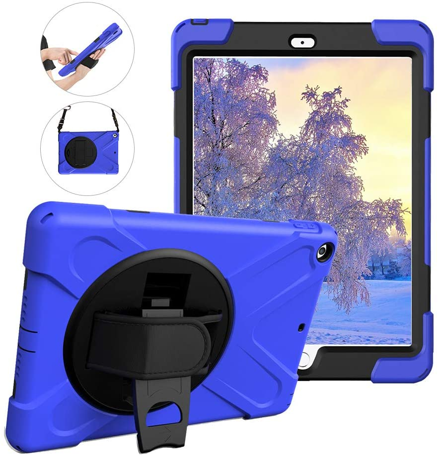 WIKISH Smart Case for  iPad 9.7 inch 2018 / 2017 Tablet Protective Cover with 360 Degree Rotating Kickstand, Hand Shoulder Strap, Three Layer Shockproof Silicone Case, Blue