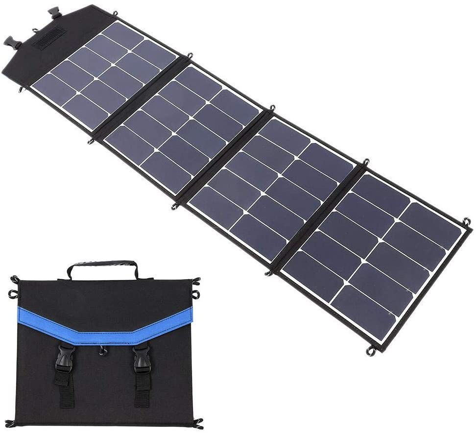 Hopcd Backpack Solar Panel Charger, 65W 4-Fold Solar Panel Foldable Solar Power Bank, Type-C USB Charging Waterproof Outdoor Portable Charging Power Station for Laptops/Mobile Phones/Tablets