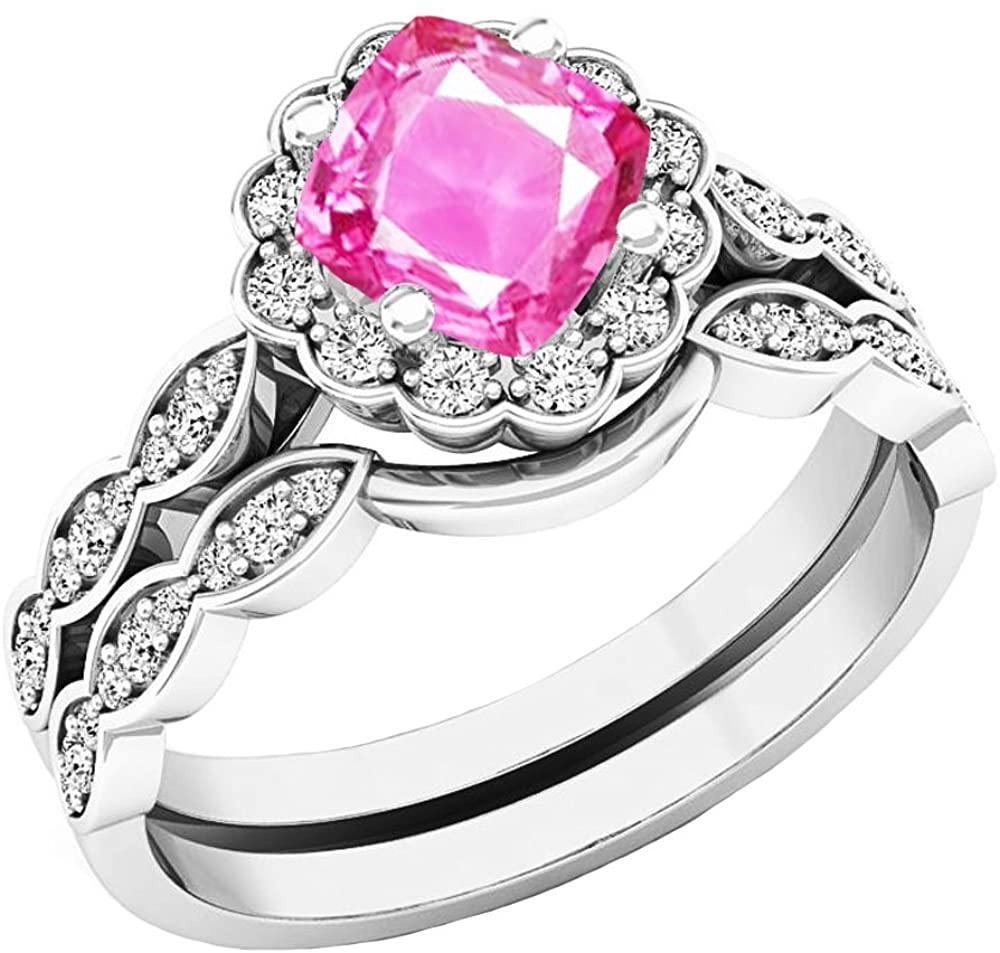 Dazzlingrock Collection 14K 5.5 MM Cushion Lab Created Gemstone & Round Diamond Ladies Halo Engagement Ring Set, White Gold