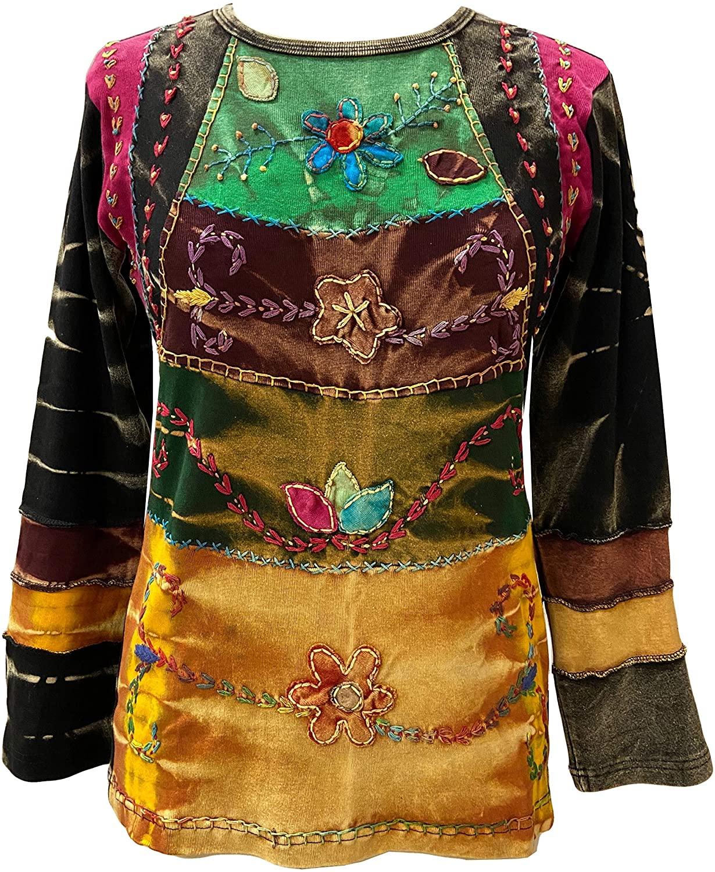 Agan Traders Womens Knit Cotton Boho Jersey Patch Gypsy Long Sleeve Sweatshirt Blouse