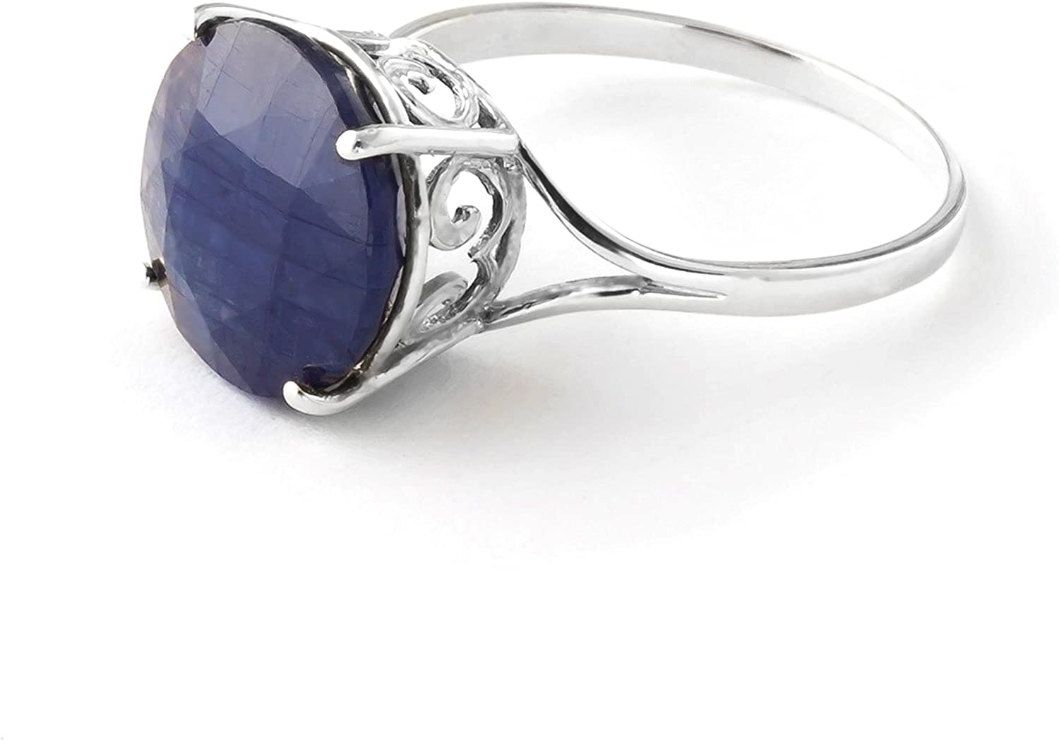 Galaxy Gold 9.5 Carat 925 Sterling Silver Ring with Natural 12.0 MM Round Blue Sapphire (5.5)