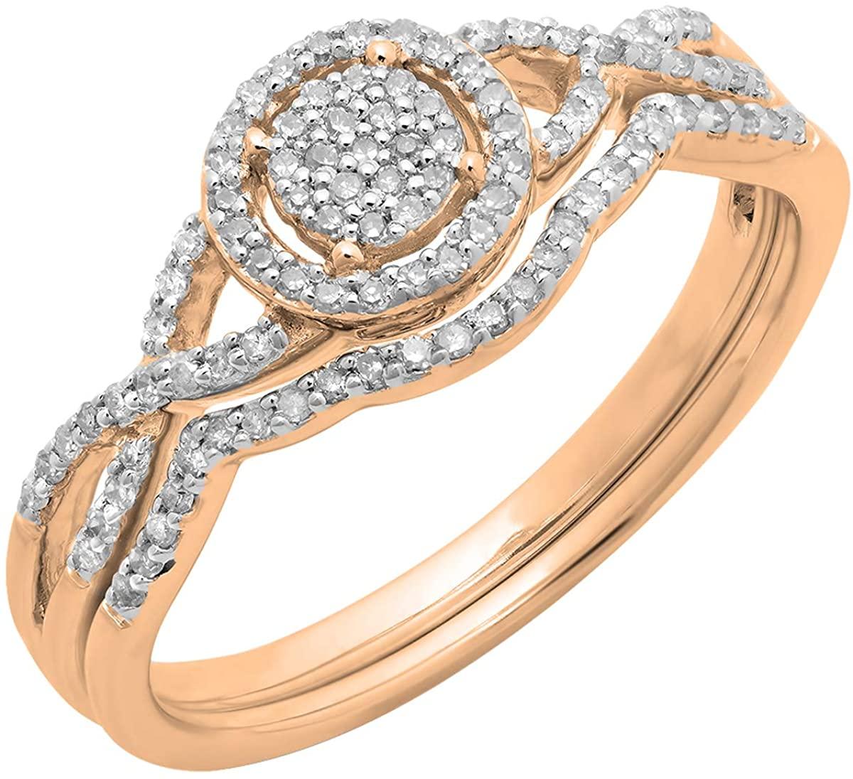 Dazzlingrock Collection 0.25 Carat (ctw) 10K Gold Round Lab Grown Diamond Ladies Twisted Engagement Ring Set 1/4 CT