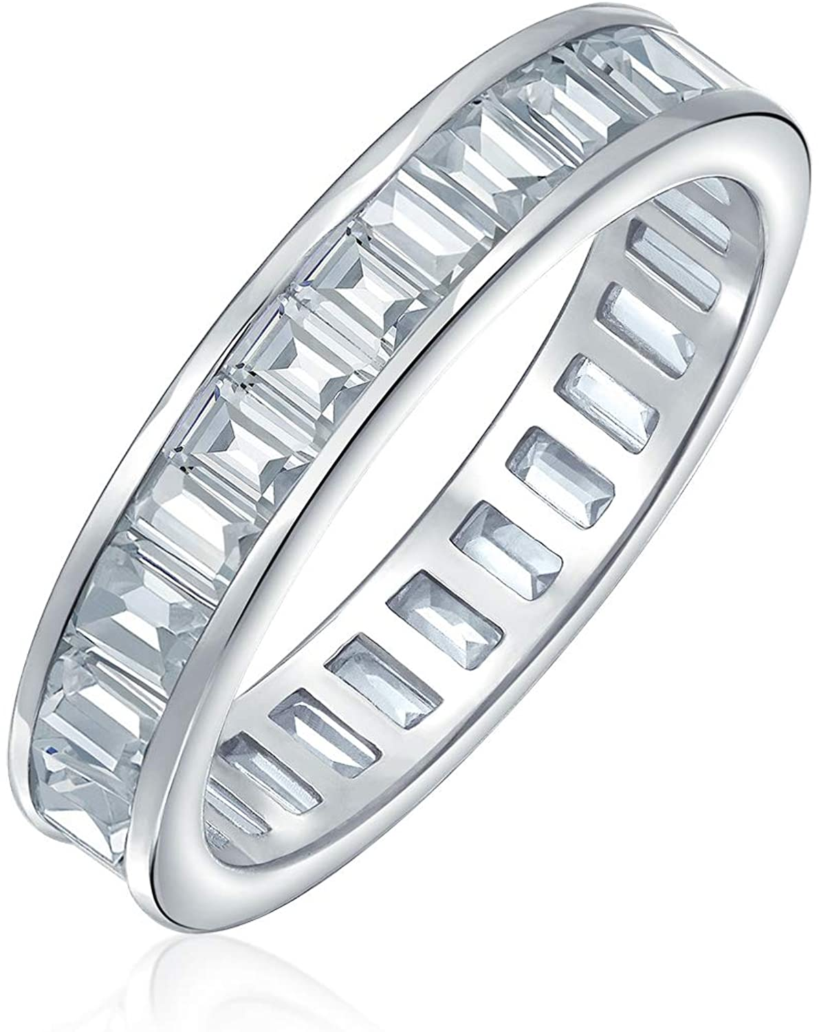 Cubic Zirconia Channel Set Rectangle Baguette CZ Eternity Ring Wedding Band For Women 925 Sterling Silver 4MM
