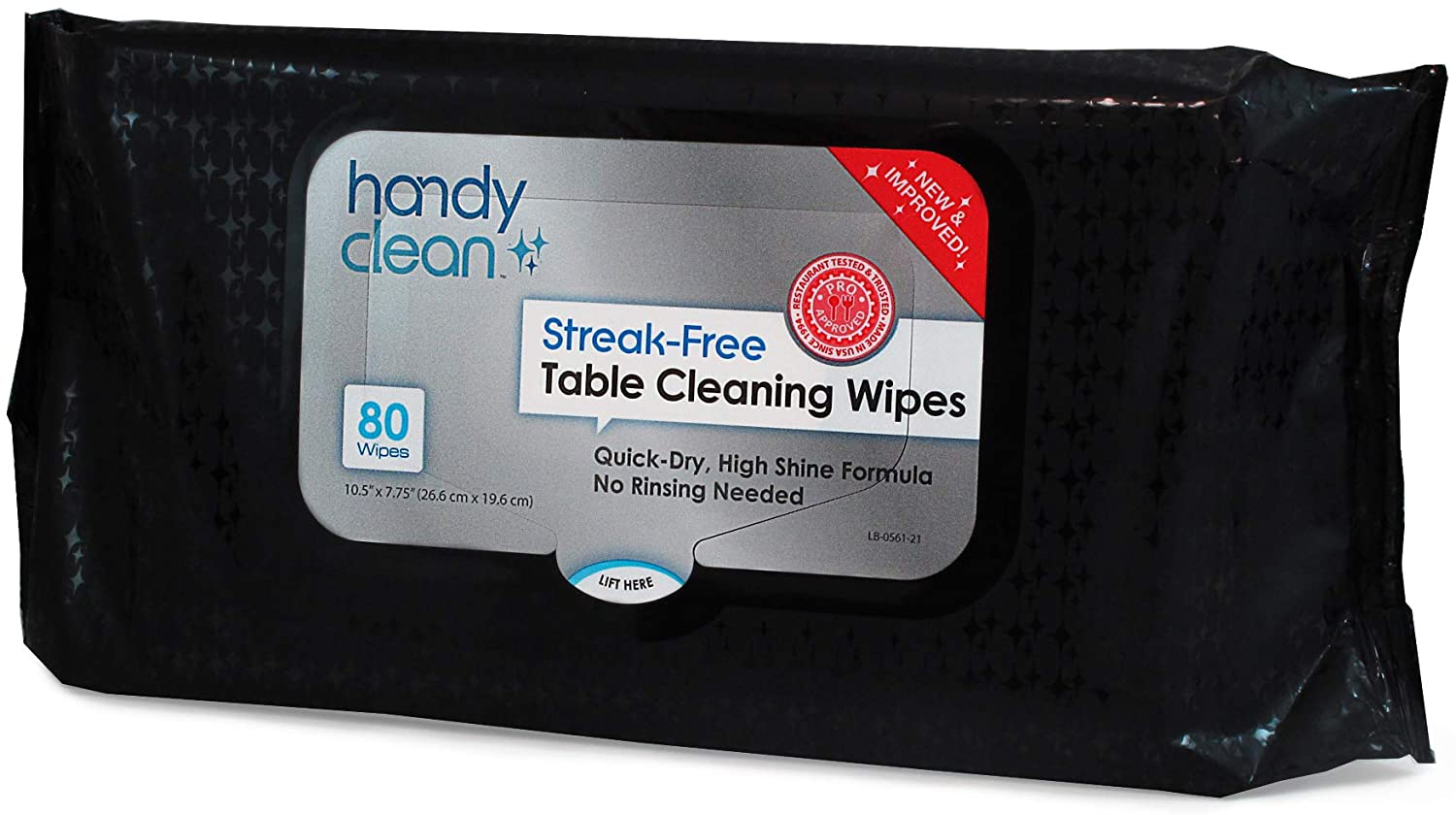 HandyClean Table Top and Counter Cleaning Wipes 1 Resealable Pouch of 80 Count 10.5