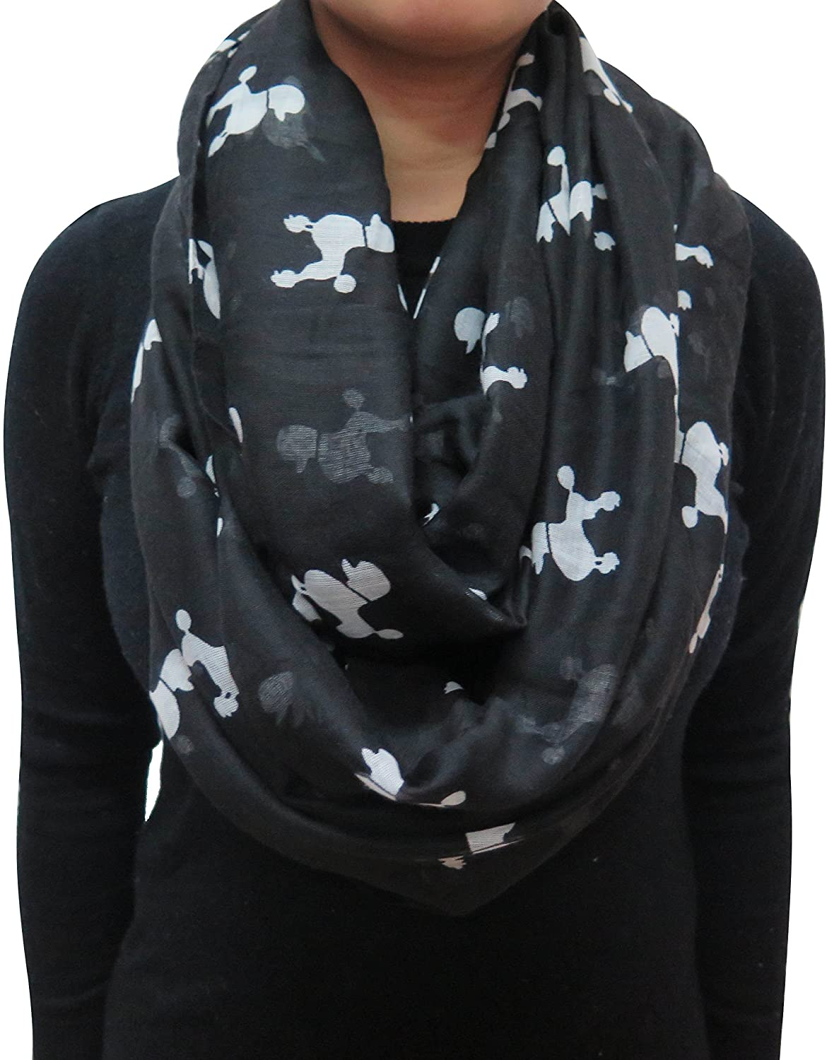 Lina & Lily Poodle Dog Print Women's Infinity Scarf Lightweight