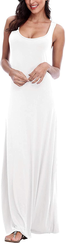 EXCHIC Women's Sexy Tank Top Maxi Dress Elegant Floral Print Beach Dress Sleeveless