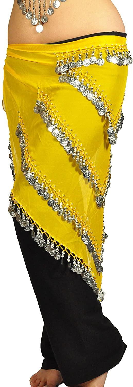 AK-Trading Belly Dancing Jingling 5 Tier Triangular Teardrop Chiffon Hip Scarf With Silver Coins Yellow