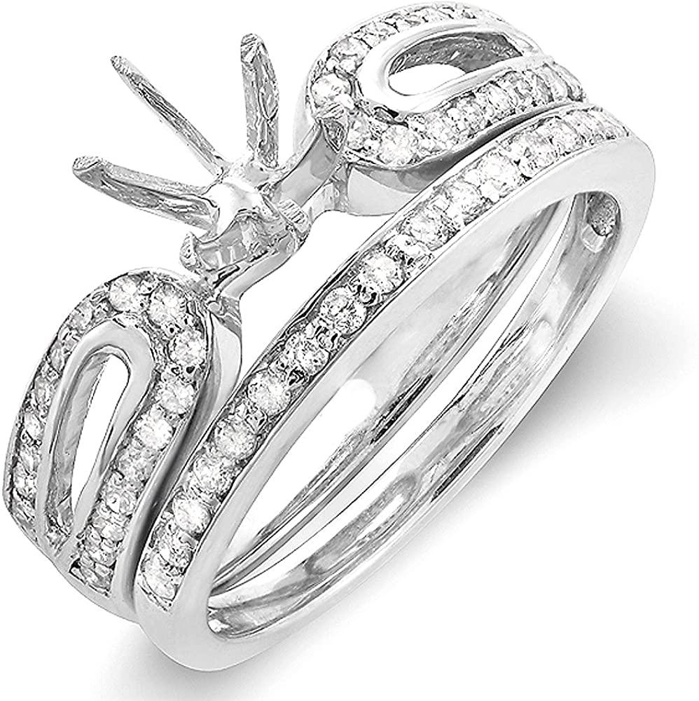 Dazzlingrock Collection 0.45 Carat (Ctw) 14k Round Diamond Ladies Bridal Semi Mount Ring Set (No Center Stone), White Gold